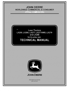 repair manuals John Deere LX255 LX266 LX277 LX277AWS LX279 LX288 Lawn Tractor Technical Manual TM1754 PDF