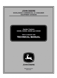 repair manuals John Deere GX255 GX325 GX335 GX345 Garden Tractors Technical Manual TM1973 PDF