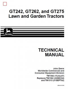 repair manuals John Deere GT242 GT262 GT275 Lawn & Garden Tractors TM1582 Technical Manual PDF