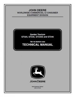 repair manuals John Deere GT225 GT235 GT235E GT245 Garden Tractor Technical Manual TM1756 PDF