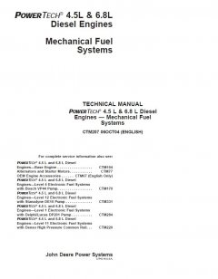 repair manuals John Deere PowerTech 4.5L & 6.8L Diesel Engines - Mechanical Fuel System Technical Manual CTM207 PDF