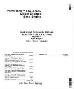 repair manuals John Deere PowerTech 4.5L, 6.8L Diesel Engines CTM104 Base Engine PDF
