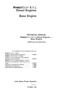 repair manuals John Deere PowerTech 8.1L Diesel Engine Technical Repair Manual CTM86 PDF
