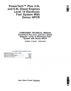 repair manuals John Deere PowerTech Plus 4.5L 6.8L Level 14 Fuel System HPCR CTM320 PDF