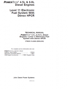 repair manuals John Deere Level 11 Electronic Fuel System w/ Denso HPCR CTM220