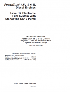 repair manuals John Deere Level 12 Electronic Fuel System w/ DE10 Pump Repair Manual CTM331