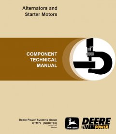 repair manuals John Deere Alternators and Starter Motors Repair Manual CTM77 PDF