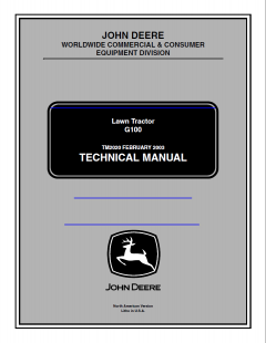 repair manuals John Deere Lawn Tractor G100 PDF Service Manual TM2020