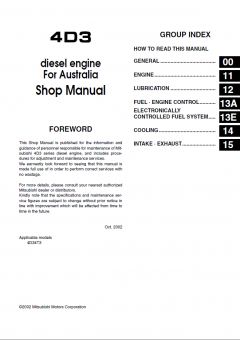 repair manuals Mitsubishi Fuso Canter Truck Service Manual PDF