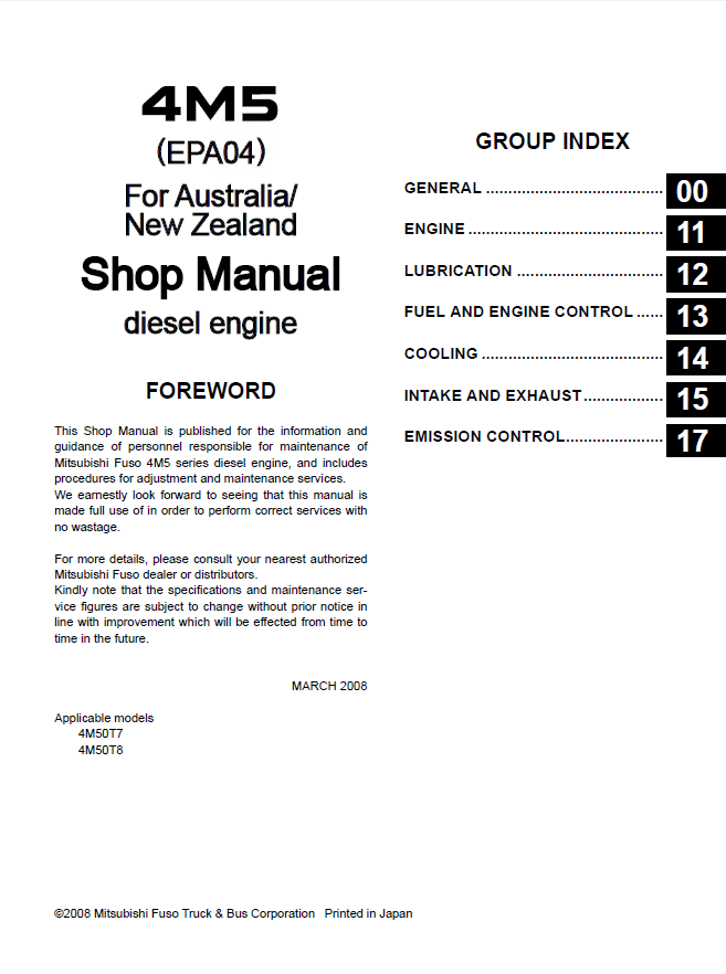 mitsubishi fuso canter truck service manual pdf rh auto files com Mitsubishi Montero Engine Manual 2006 mitsubishi fuso service manual