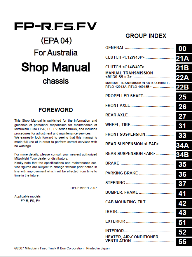 mitsubishi fuso workshop manual free download