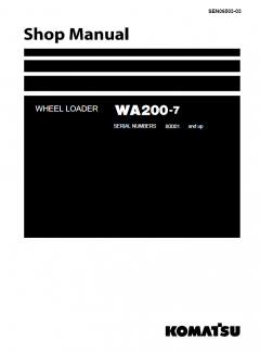 repair manuals Komatsu WA200-7 Wheel Loader Shop Manual PDF
