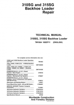 repair manuals John Deere 310SG & 315SG Backhoe Loader Service Manual
