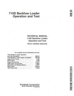 repair manuals John Deere 710D Backhoe Loader Operation and Test Manual PDF TM1537