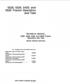 repair manuals John Deere 5220 5320 5420 5520 Tractor Operation and Test TM-2049 Technical Manual PDF