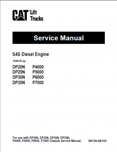 repair manuals Caterpillar S4S Diesel Engine DP20N, DP25N, DP30N, DP35N Lift Trucks Service Manual PDF