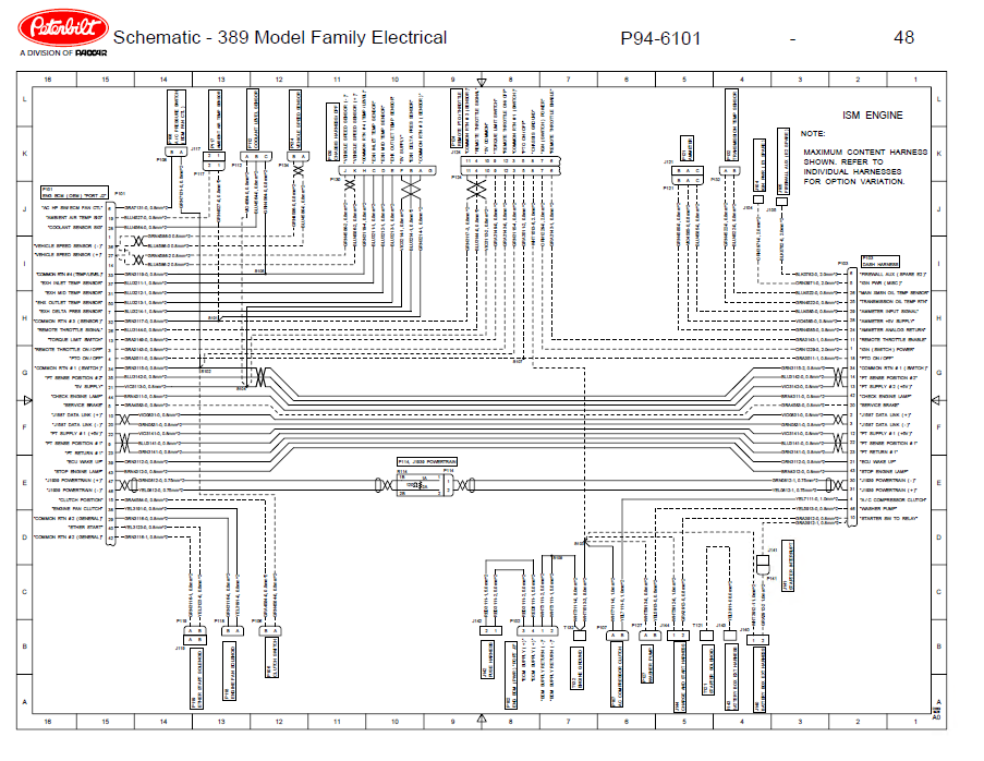 Peterbilt Truck 389 Model Family Electrical Schematic Manual Pdf