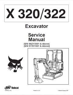 repair manuals Bobcat X 320/322 Excavator Service Manual PDF