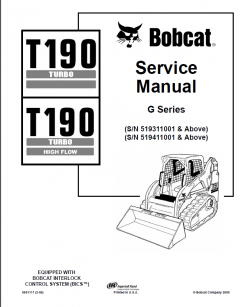 repair manuals Bobcat T190 Turbo & T190 Turbo High Flow Compact Track Loader Service Manual PDF
