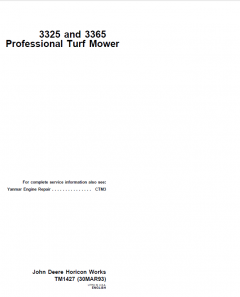 repair manuals John Deere 3325, 3365 Professional Turf Mower Technical Manual TM1427 PDF