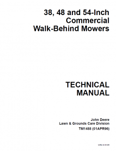 repair manuals John Deere 38 48 54-Inch Commercial Walk-Behind Mowers Technical Manual TM1488 PDF