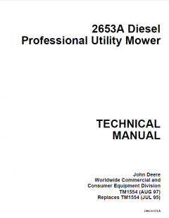 repair manuals John Deere 2653A Diesel Professional Utility Mower Techical Manual TM1554 PDF