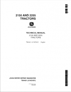 repair manuals John Deere 2150 2255 Tractors Technical Manual TM4401 PDF
