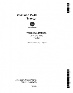 repair manuals John Deere 2040, 2240 Tractor Technical Manual TM1221 PDF