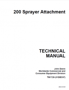 repair manuals John Deere 200 Sprayer Attachment TM1729 Technical Manual PDF
