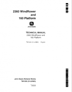 repair manuals John Deere 2360 WindRower 160 Platform Technical Manual TM1300 PDF