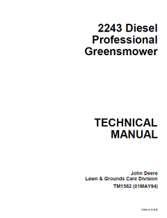 repair manuals John Deere 2243 Diesel Professional Greensmower Technical Manual TM1562 PDF