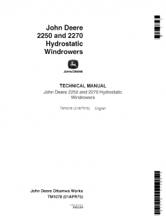 repair manuals John Deere 2250, 2270 Hydrostatic Windrowers Technical Manual TM1078 PDF