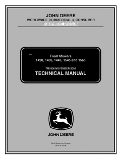 repair manuals John Deere 1420 1435 1445 1545 1565 Front Mowers Technical Manual TM1806 PDF