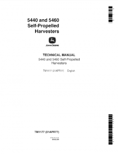 repair manuals John Deere 5440, 5460 Self-Propelled Harvesters Technical Manual TM1177 PDF