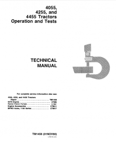 repair manuals John Deere 4055 4255 4455 Tractors Operation & Tests Technical Manual TM1459 PDF