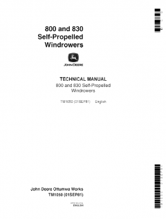repair manuals John Deere 800, 830 Self-Propelled Windrowers Technical Manual TM1050 PDF