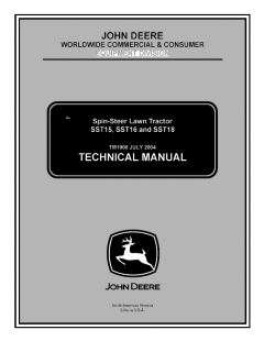 repair manuals John Deere SST15 SST16 SST18 Spin-Steer Lawn Tractor Technical Manual TM1908 PDF