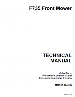repair manuals John Deere F735 Front Mower Techical Manual TM1597 PDF