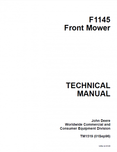 repair manuals John Deere F1145 Front Mower Technical Manual TM1519 PDF