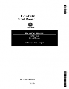 repair manuals John Deere F910/F930 Front Mower Technical Manual TM1301 PDF