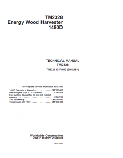 repair manuals John Deere Energy Wood Harvester 1490D Technical Manual TM2328 PDF