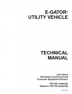 repair manuals John Deere E-Gator Utility Vehicle Technical Manual TM1766 PDF