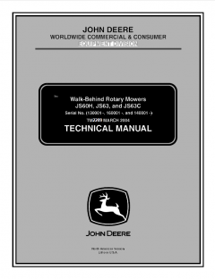 repair manuals John Deere JS60H JS63 JS63C Walk-Behind Rotary Mowers Technical Manual TM2209 PDF
