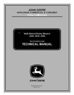 repair manuals John Deere JS20, JS30, JS40 Walk-Behind Rotary Mowers Technical Manual TM1335 PDF