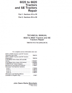 repair manuals John Deere 6020-6620 Tractors & SE Tractors Repair TM4750 PDF