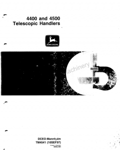 repair manuals John Deere 4400, 4500 Telescopic Handlers TM4541 Technical Manual PDF
