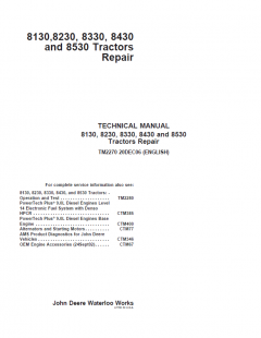 repair manuals John Deere 8130, 8230, 8330, 8430, 8530 Tractors Repair TM2270 PDF