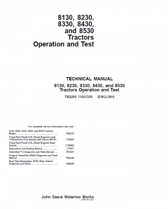 repair manuals John Deere 8130, 8230, 8330, 8430, 8530 Tractors Operation & Test TM2280 PDF