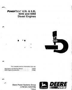 repair manuals John Deere PowerTech 4.5L, 6.8L & 4045, 6068 Diesel Engines CTM104 PDF