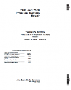repair manuals John Deere Premium Tractors 7430, 7530 Repair TM400319 Technical Manual PDF